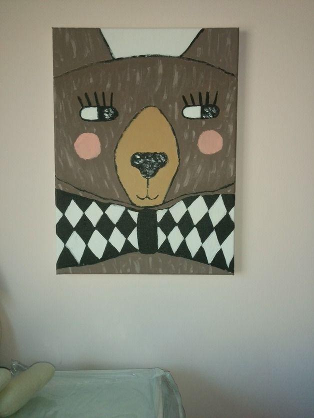 Obraz na płótnie, ręcznie malowany. Miś - bear. Handmade