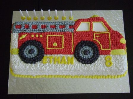Novelty Tin Fire Truck Cake With Butter Icing