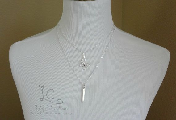 Layered Necklace Set of Two Butterfly Necklace by LalabelCreations
