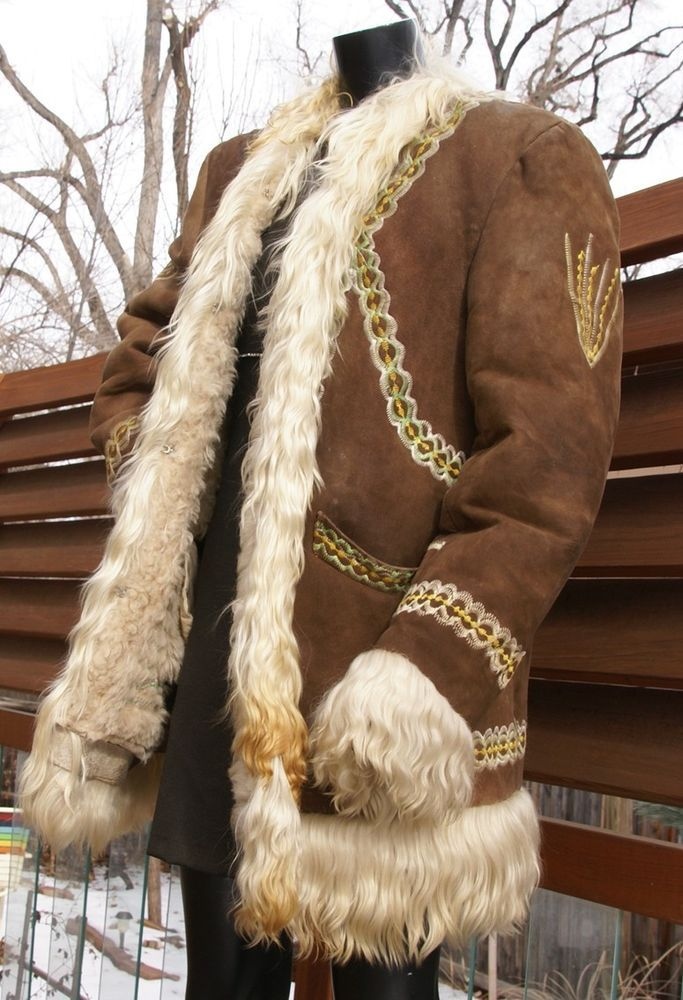 38e102fe13c4 vtg 60's 70's EMBROIDERED curly silky YAK fur shearling hippie festival COAT  XL