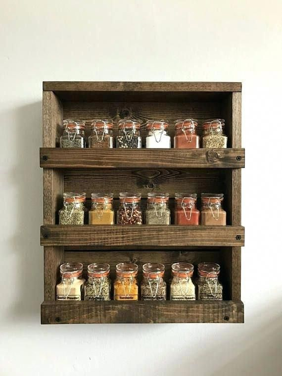 This But Bigger For Mason Jars Floor To Ceiling Amazing Diy Wall Mounted Spice Rack Or Rustic Wood In 2020 Wood Spice Rack Diy Spice Rack Wall Mounted Spice Rack