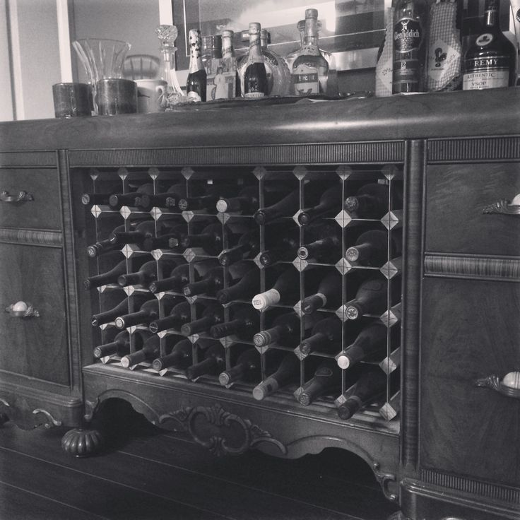 Homemade dresser bar and wine rack