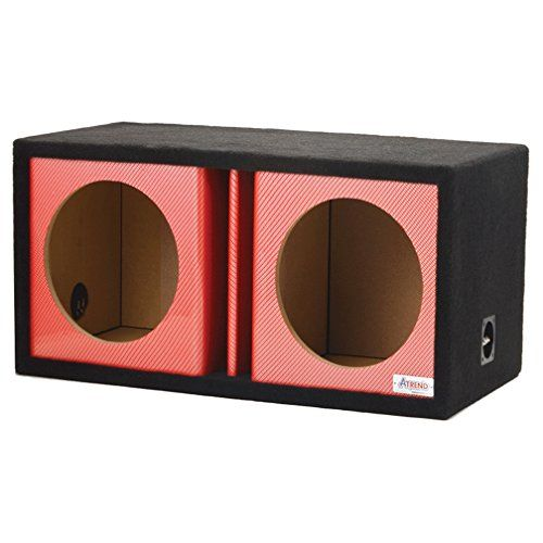 "Atrend 10DVR - Red Carbon Fiber Dual 10"" Vented Custom Subwoofer Box 1.1 Cu Ft / Sub"