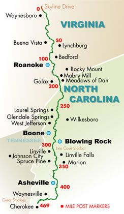 Blue Ridge Parkway Guide - I would have to venture off the map to visit Floyd, VA though!