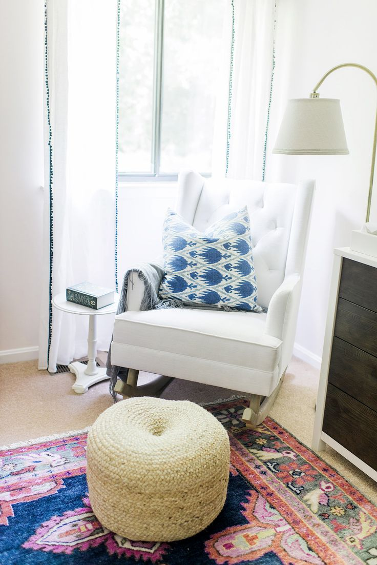 Little castle transition white leather swivel glider - Reading Nook With White Chair Blue Patterned Pillow And Modern Floor Lamp