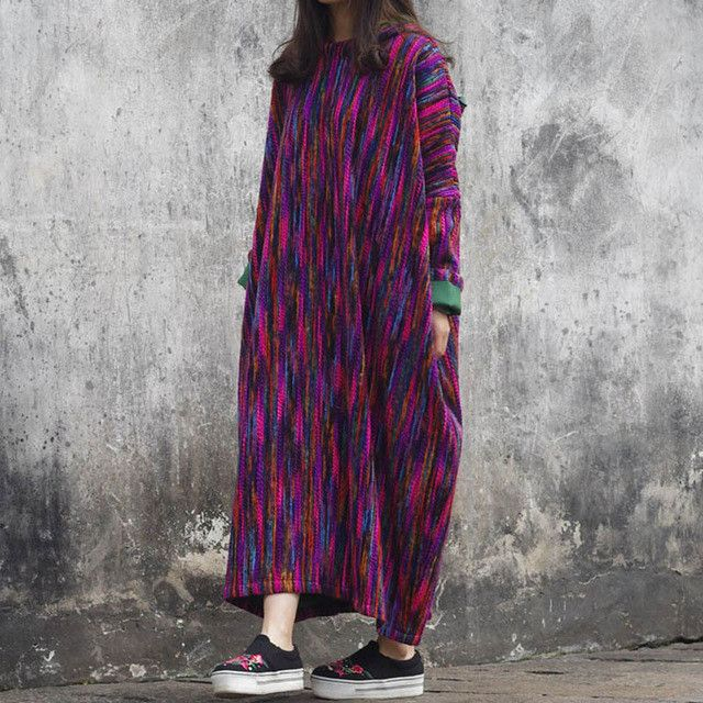 SERENELY 2016 Women Autumn Winter Dress Vintage Stripe Thickening Big Hooded Plus Size Long Pullover Dress Loose Robe S243