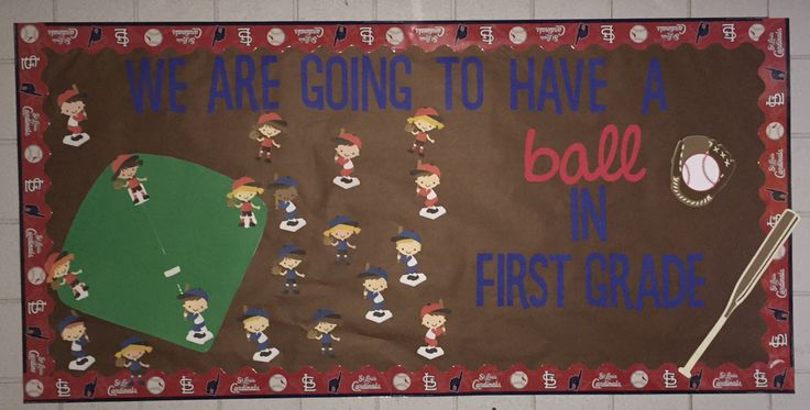 Baseball bulletin board. Baseball classroom theme made with the Cricut & used a St Louis Cardinals border. We're Going to Have a BALL in first grade