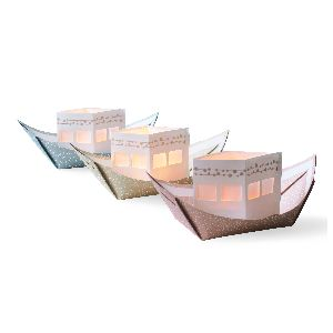 Jurianne Matter Rite De Passage Lightboats: This set of three beautiful paper boats by Dutch designer Jurianne Matter come flat and can be bent and folded into shape. They each have a paper 'cabin' that sits inside the middle of the boat, which can hold an electric tea light candle. While they are not waterproof, they can float on water. They are printed using eco-friendly inks and are packaged in a clear biodegradable sleeve made from corn starch.