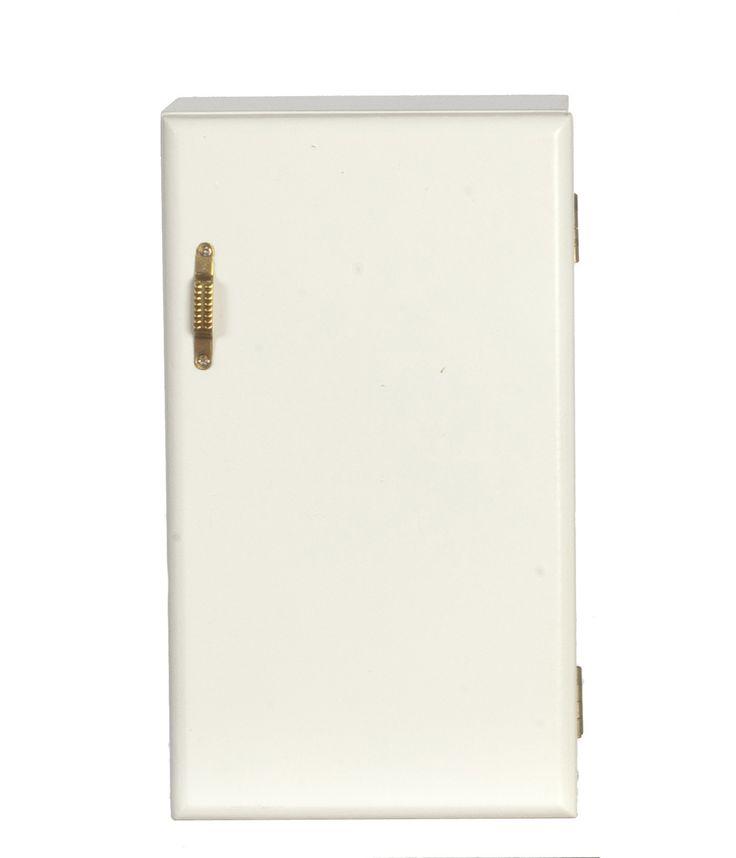 Kitchen Modern Refrigerator - white with gold handle