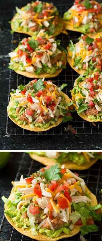 Loaded tostadas layered with guacamole, refried beans,and chicken!Delicious and hearty comfort food.