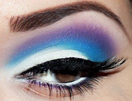 Purple, Blue, And White Eye Shadow.