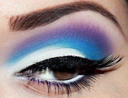 Purple, Blue, And White Eye Shadow.