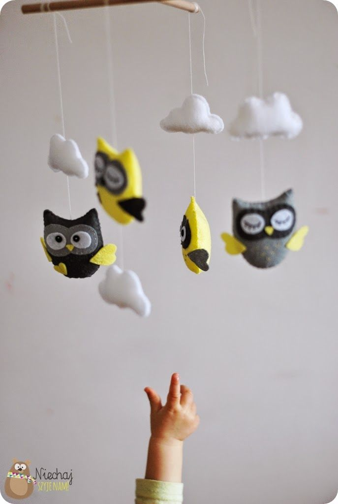 yellow grey white owl mobile felt, if i ever have a girl, change some for squirrel birds rabbit for sleeping beauty