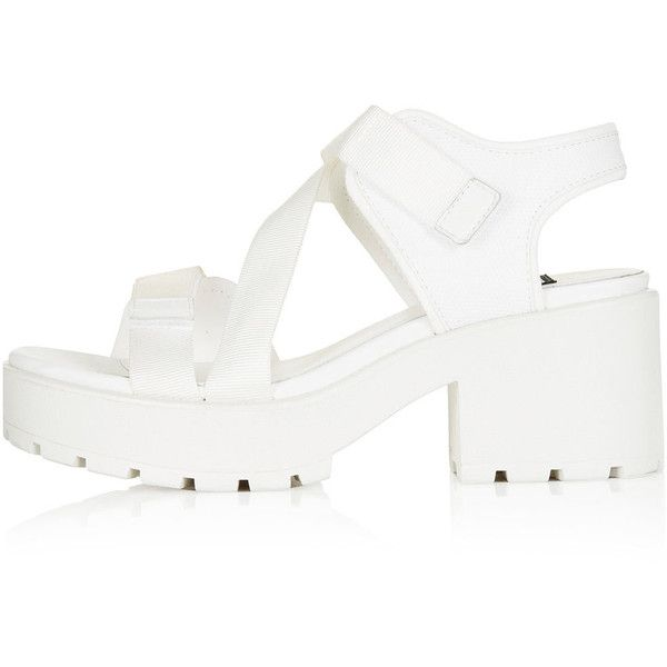 VAGABOND Sporty Sandals (£78) ❤ liked on Polyvore featuring shoes, sandals, white, velcro shoes, white velcro shoes, sporty sandals, white shoes and velcro closure shoes