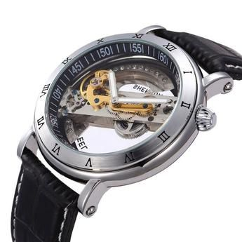 Luxury Cool High Quality Automatic Self Wind Skeleton Hollow Dial Mechanical Watch With Leather Strap Gift To Men