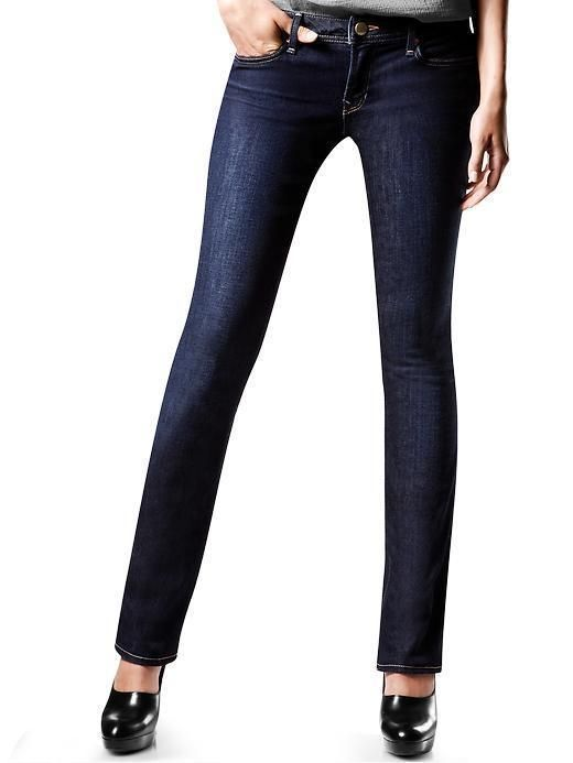 Gap Our real straight jeans are cut straight to give the appearance of longer, more slender legs.,Petite Fit Guide,Tall Fit Guide Fabrication: Premium stretch denim. Wash: Dark blue.... More Details