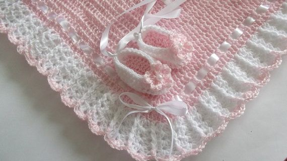 Crochet Baby Blanket / Afghan and Booties  Pink White Christening, Baptism, Baby Girl Granny Square Crochet Blanket, Gift