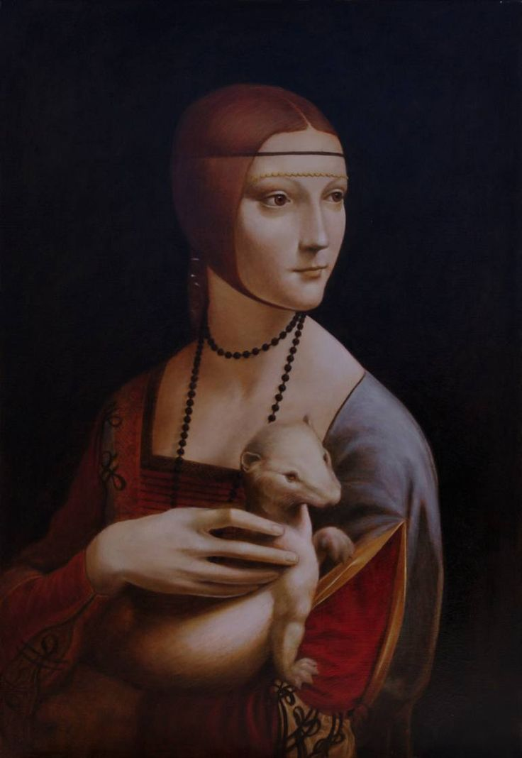 Buy Lady with an Ermine, a Oil on Canvas by Igor Panchuk from Poland. It portrays: Portrait, relevant to: the renaissance, Leonardo Da Vinci, LADY WITH AN ERMINE, Cecilia Gallerrani, renaissance portrait 2016. Made by me to recreate old masters technology of oil painting