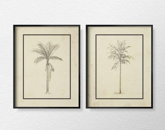 Palm Tree Illustration Coastal Decor Set of by LotusLeafCreations