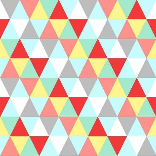 Geometriskt mönster i rött, gult, grått, ljusblått och orange
