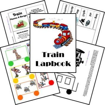 Trains Preschool Lapbook, Lesson Plan, Unit Study, Printables FREE