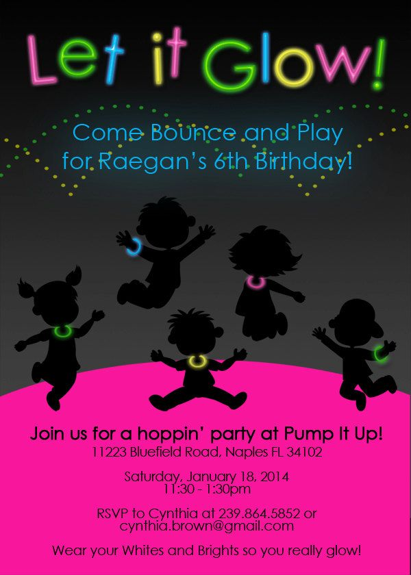 Bounce House Pump It Up Glow Birthday Invitation Glow