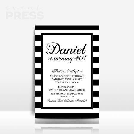 Black & white birthday invitation | Event Press