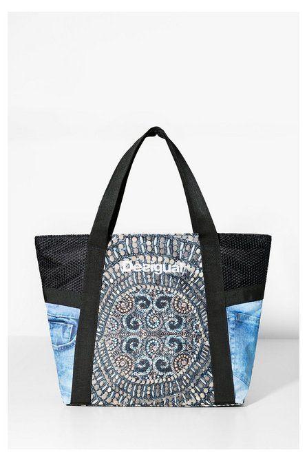 Desigual shopper bag black jeans print tas spijkerstof print   http://www.desigual.com/nl_NL/damesmode/kleding/sport/prod-l_shopping_bag_y-71X5SA3