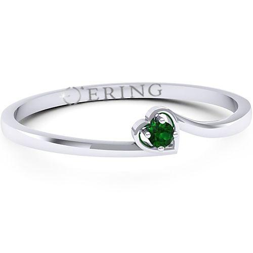Inelul este realizat din aur alb 14k, greutate: ~1.30gr.                                    Produsul are in componenta sa: 1 x smarald, dimensiune: ~1.80mm, forma: round