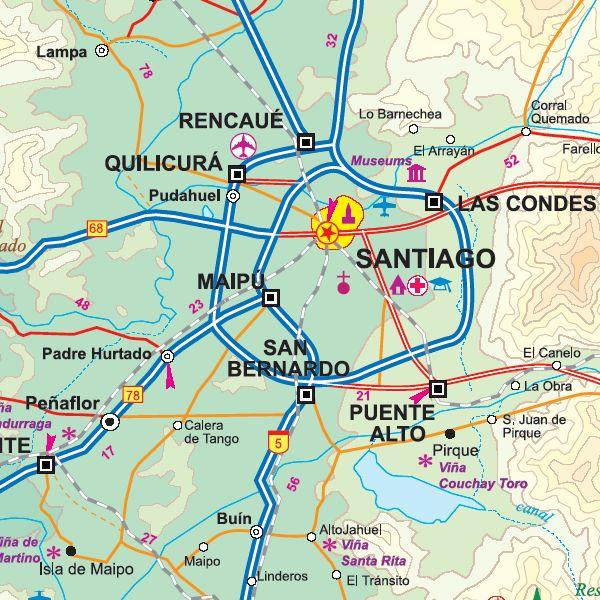 Detailed Map of Santiago Chile--shows location of San Bernardo