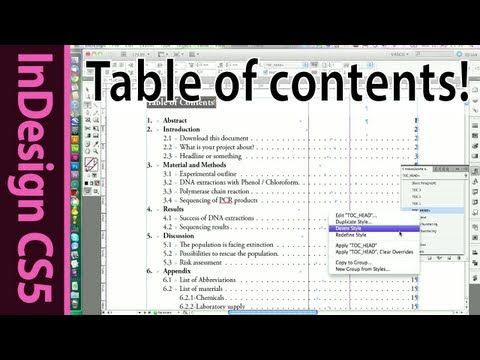 Indesign table of contents for text documents cs5 for Indesign table