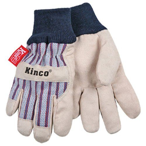 KINCO 1927KW-Y Child's Lined Ultra Suede Cold Weather Glove with Knit Wrist, Ages 7-12, Youth, Golden. Grain pigskin palm. Trademarked material back and cuff. Heat keep lining. Knit wrist.