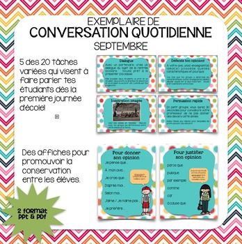 This product was designed to get your French students conversing in French from the very first day of school. This freebie is a sample of, Conversation quotidienne - septembre and is ideal for students in all French programs. Topics for this month center around the back to school theme.