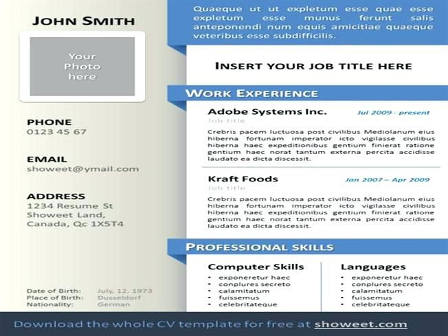 Free Resume Templates Ppt