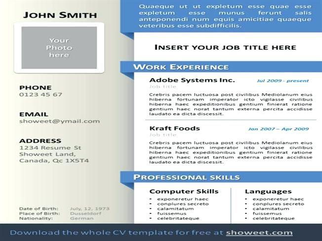 Free Resume Templates Ppt