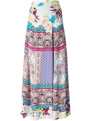 Etro Mixed Prints Long Skirt