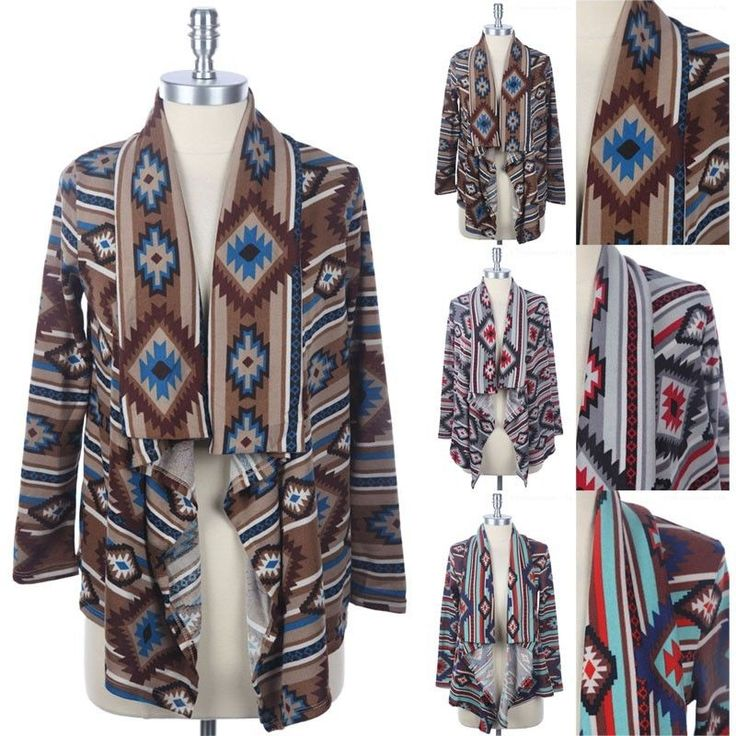 All Over Tribal Print Cardigan Long Sleeve Open Front Draped Comfortable S M L