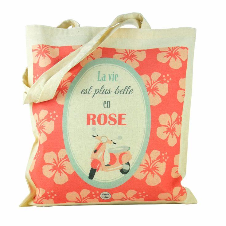 Tote bag: La vie est plus belle en rose