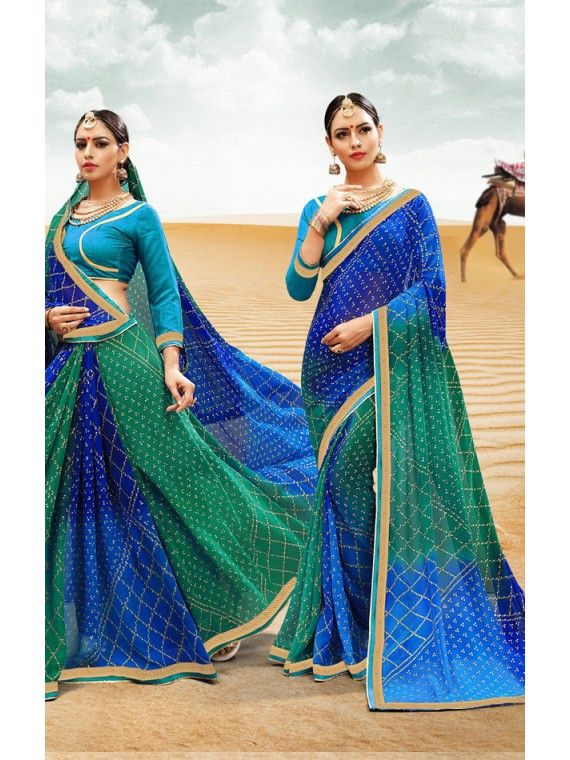 Decorous Shaded Green and Blue Georgette Bandhej Bandhej Saree