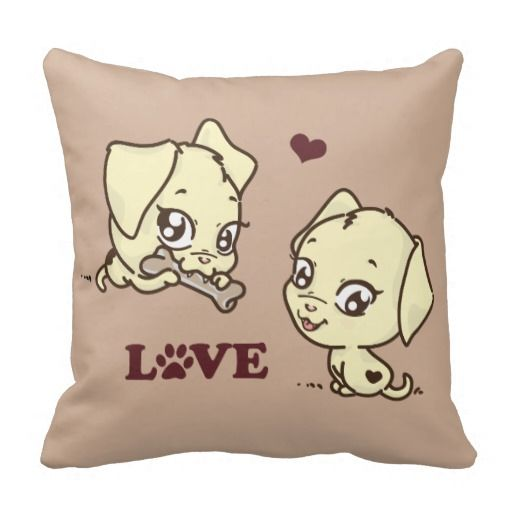 Cute Cartoon Puppies In Love The Puppy Images Are Sweet With Big Eyes And Smiles Word Is Written A Marsala Wine Color Dog Paw Print