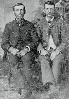 Jesse and Frank James in the mid-1870s....they stayed at my 3x gr grandparents inn  a few times