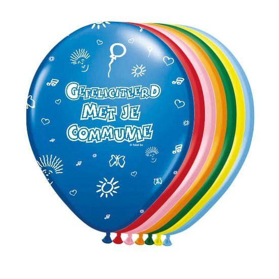 8 stuks ballonen in diverse kleuren met de tekst: gefeliciteerd met je communie. Deze Ballonnen communie mogen niet ontbreken op uw Eerste Communie feestje.