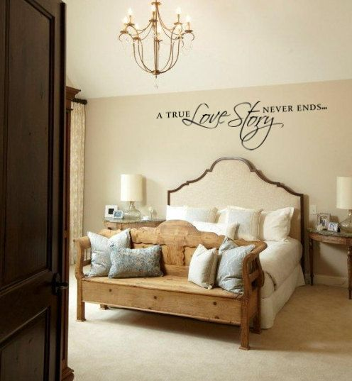 A True Love Story Never Ends Vinyl Wall Decal Quote for Bedroom  via Etsy.