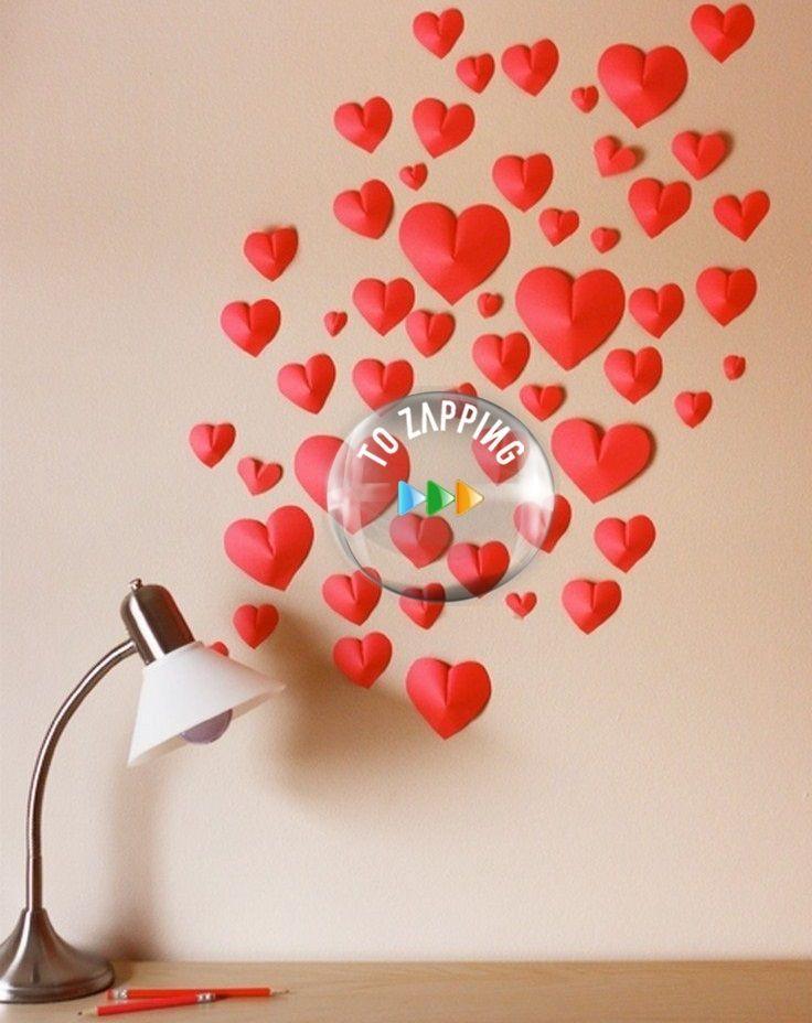 Cómo Hacer Corazones De Papel 3D. Decora tu pared con estos hermosos corazones de papel en 3D Corazones de papel 3D Idea fácil y original para usarla en la