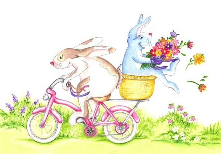 """Cycle Bunnies"". Pastel on Art Paper. Available as an original, prints or greeting cards."