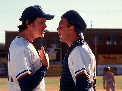 "Ebby Calvin LaLoosh (Tim Robbins): ""A good friend of mine used to say, 'This is a very simple game. You throw the ball, you catch the ball, you hit the ball. Sometimes you win, sometimes you lose, sometimes it rains.'  Think about that for a while."" - Bull Durham"