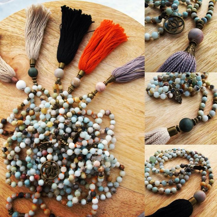 Multicolor amazonite with different color tassels.
