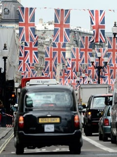Union Jack flags lining Regent Street for the Diamond Jubilee
