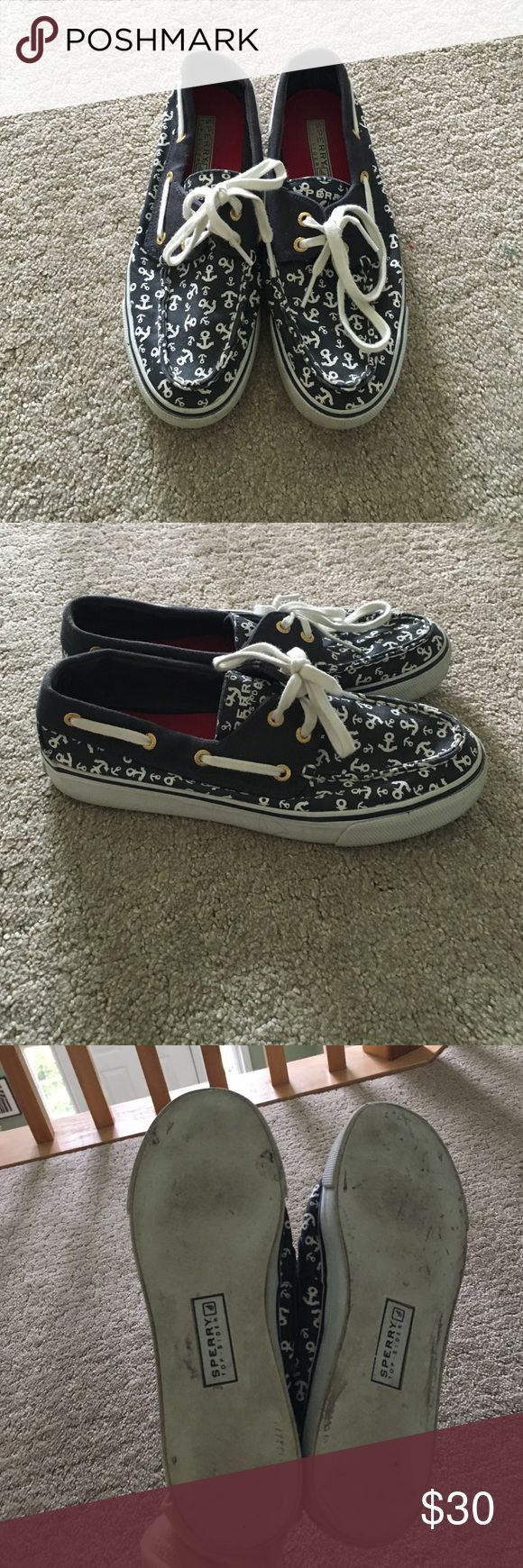 ANCHOR DESIGN SPERRYS Adorable Speerys with anchors all over them. Worn 3-4 times. Super comfortable and perfect for summer!! Sz 6 Sperry Top-Sider Shoes