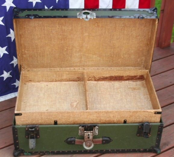 Antique Samson Foot Locker Chest Trunk Wwi Army Vet Auctions - Buy And Sell - FindTarget Auctions